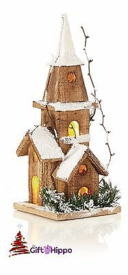 Christmas Decorations - Christmas Wooden Lit LED Church - 28cm