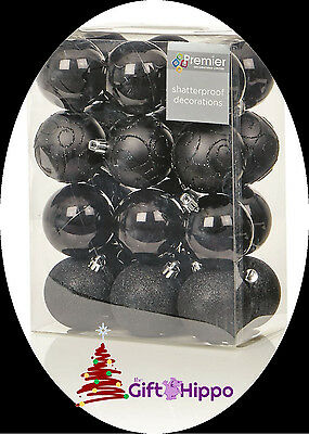 Christmas Decorations - 24 Pack of Black Shatterproof Baubles - 60mm