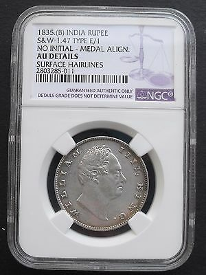 1835 B  India  Rupee, NGC AU details , nice silver coin
