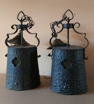 PAIR antq GOTHIC tudor SPANISH REVIVAL iron STAIN GLASS chandeliers 1930