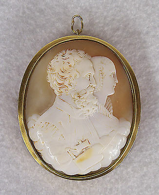 Antique 14 K Gold Shell Cameo Brooch Museum Quality