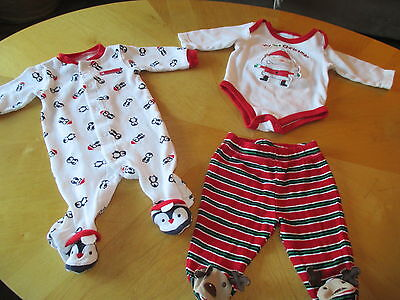 My First Christmas Bodysuit With Footed Pants And Penguin Pajamas  0-3 Mos.