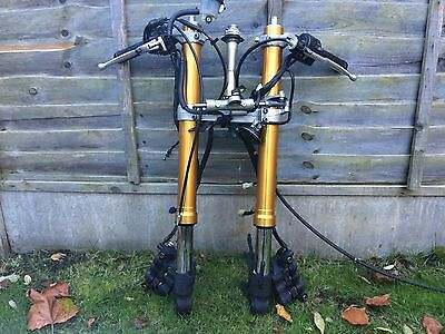 Yamaha R1 OEM Forks Complete Front End Suspension Calipers Tree YZF 09-14