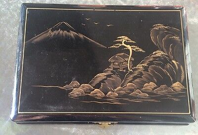 Asian Black Lacquered Jewelry Box Intricate Design