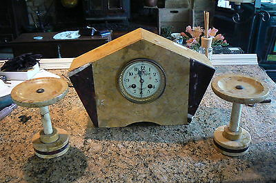 A Pretty Art Deco Clock Marble Clock & Garniture Working Order