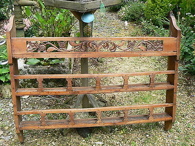 Gorgeous Antique Mid 19Th Century Pine Plate / Wall Rack / Shelves French Rustic