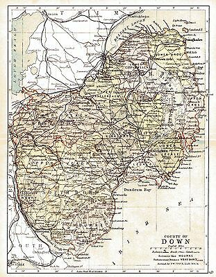 Print of A4 size 1897 map of County Down. Ireland.