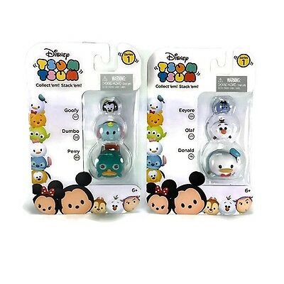 Lot Disney Tsum Tsum Figure 3-Pack: Perry Dumbo Goofy & Olaf Eeyore Donald
