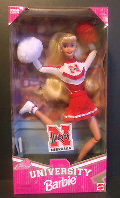 NEBRASKA HUSKERS Blonde Barbie Special Edition Cheerleader Doll Mattel 1996