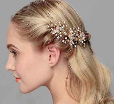 Bridal Gold Floral Design Wedding Comb With Crystals And Pearls Hair Accessory