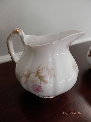 Antique/vtg Theodore Haviland Limoges Large Creamer White W/ Purple Daisies