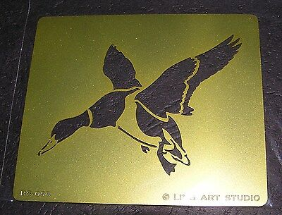Brass Stencil Flying Duck Template Leatherwork Burnish Wood Paper Scrapbook Card
