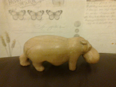 Wooden Hippopotamus Hippo Figurine Well Carved Natural Split 17Cm X 6Cm