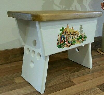 Country cottage foot stool with antique pine stained top.