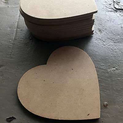 7 x MDF Wooden Heart Shapes 9cm