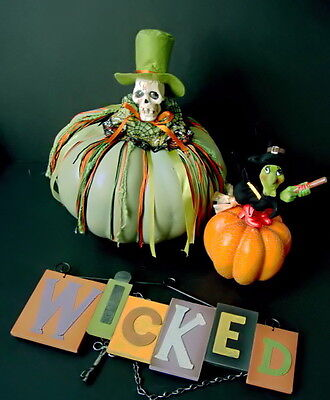 """Halloween Skeleton & Witch Pumpkins +  12 1/2"""" Wood Wicked Sign"""