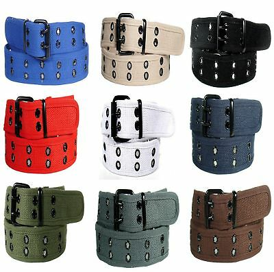 New Canvas Web Belt Two Hole Black Grommets Metal Roller Buckle Fabric Men Women