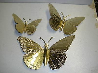 Home Interior Gold Butterflies Butterfly Wall Set of 3 wall hangings