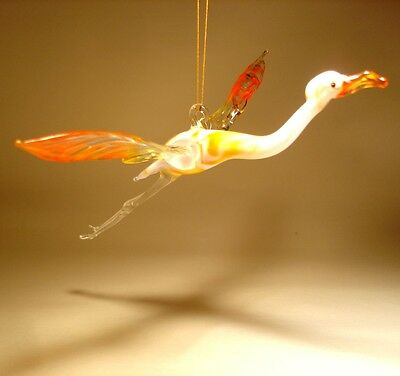 Blown Glass Art Figurine Gorgeous Hanging Bird FLAMINGO Ornament