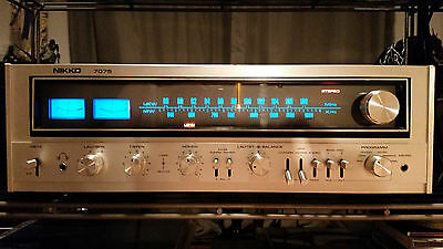 Nikko STA-7075 strong vintage stereo receiver silver wood worldwide ship