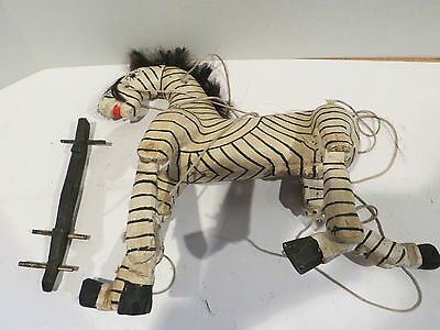 Wooden Zebra Marionette Jointed String Puppet