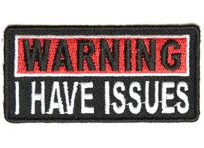 """SEW-ON EMBROIDERED PATCH  3/"""" X 1 1//2/"""" /"""" WARNING I HAVE ISSUES /"""" IRON-ON"""