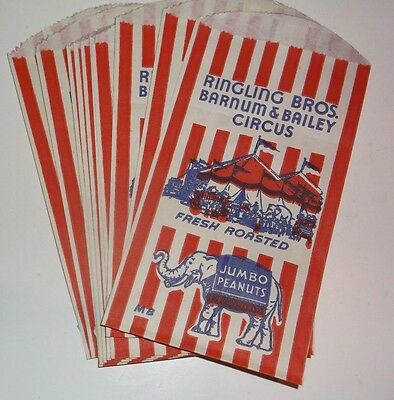 10 Old Vintage Ringling Bros. Barnum &  Bailey Circus Peanut Bags