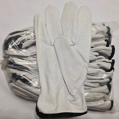 12 Pair Pack, Goat Skin Grain Leather Drivers, work safety gloves (PPE), Size  M