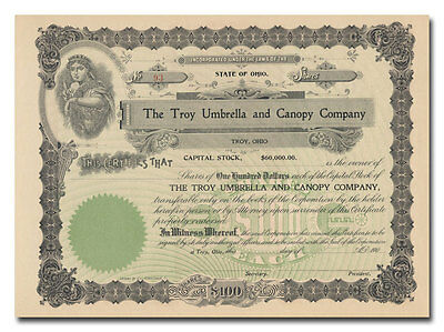 Troy Umbrella and Canopy Company Stock Certificate