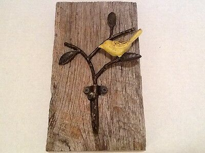 "HAND CRAFTED CAST IRON BIRD HOOK ON WEATHERED BARN WOOD! 9"""" x 5"" VERY NICE!"