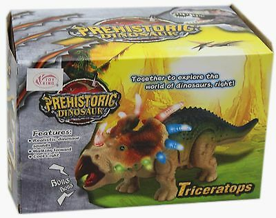 New Prehistoric Walking Triceratops Dinosaur Figure Toy With Realistic Sound