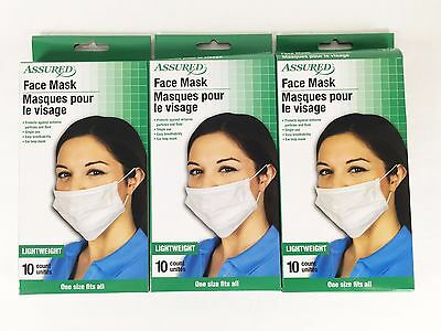 Assured Disposable Face Masks Respiratory Dust Pollen Colds Coughing Cover Ct 30
