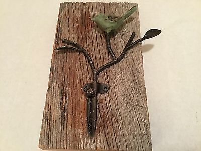 "Hand Crafted Cast Iron Bird With Hook On Weathered Barn Wood! 9"" X 5"""