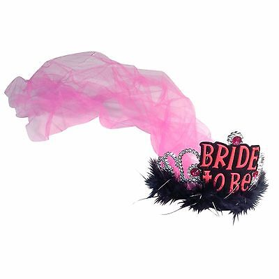 Hen Party Bride to be Tiara With Black Fur and Pink Net Veil