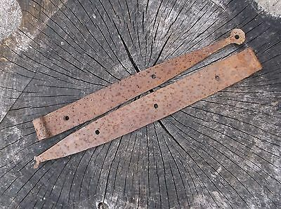 Antique Hand Forged Iron Strap Hinges Stable Door Farm Gate Damaged