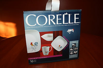 Corelle Square Country Dawn 16-Piece Dinnerware Set NEW Unopened Rooster Dishes