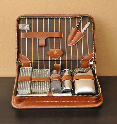 Vintage Leather Toiletry Bag with Silver Accessories Shaving Kit Brush Comb