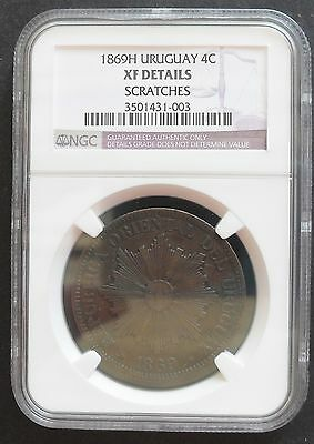 1869H Uruguay 4 C , NGC XF details , nice  coin*