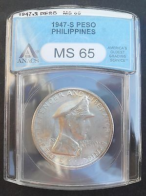 1947-S Philippines Peso, ANACS MS 65 , nice silver coin*