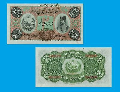 Persia- Imperial Bank of Persia. 2 Tomans ND (1890.-1923.) UNC - Reproduction
