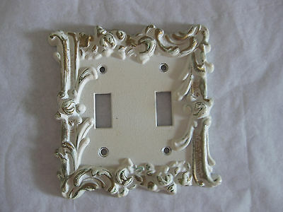 Vintage 3D Double Switch Plate Shabby Roses Chic EDMAR 5x5 • CAD $10.08
