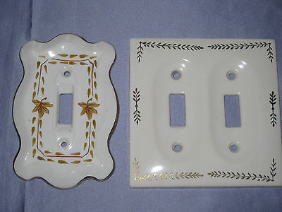 2 Vintage Porcelain Floral Double And Single Switch Plates 1 Japan 1 unmarked