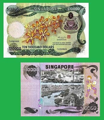 Singapore 10 000 Dollars banknote Orchid Series 1976.  UNC-Reproduction