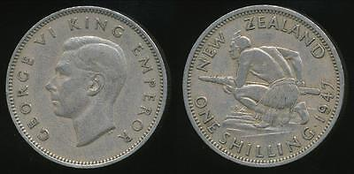 New Zealand, 1947 One Shilling, 1/-, George VI - good Fine