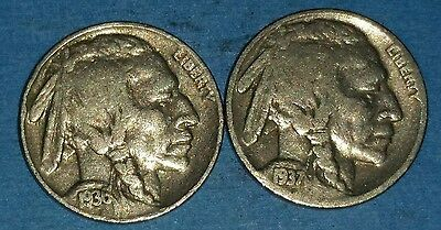 1936 And 1937 Philadelphia Mint Buffalo Nickels   ID #51-41,83