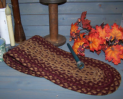 Vntg Style Oval Braided Homespun Mat~~Red & Tan~Colonial~Primitive~Decor