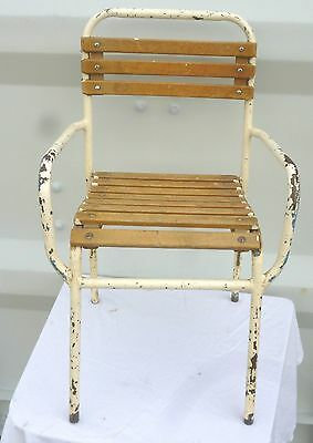 VINTAGE 1950/60's FRENCH industrial style CHILDRENS PATIO CHAIR with wood slats
