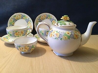 Crown Staffordshire Yellow Flowers China Vintage Part Tea Set Parties Weddings
