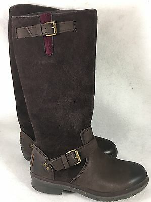 68cf3a31358 UGG EVANNA STOUT TALL WATERPROOF LEATHER SNOW BOOTS Stout Black ...