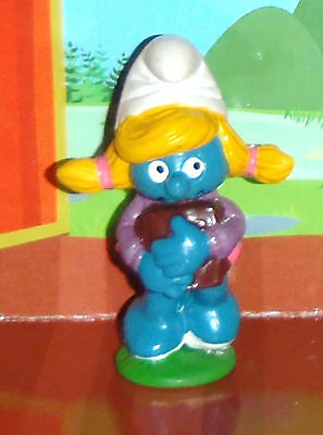 Vintage Schoolgirl Smurfette Carrying Books 1983 Smurf Lot